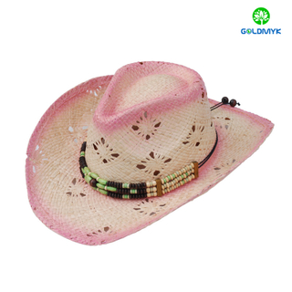 Custom Women Natural straw Raffia cowboy Hat with Decoration