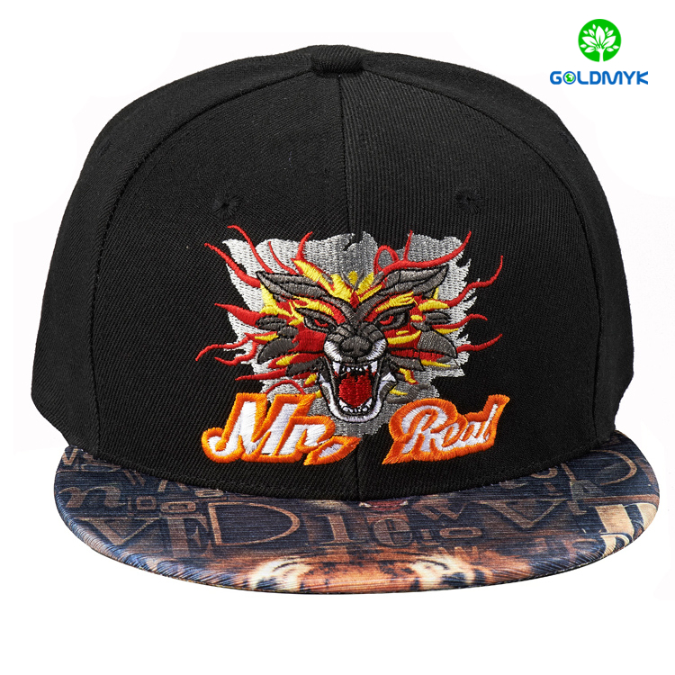 Wholesale plain color fashion Embroidery 6 Panel Custom Snapback cap