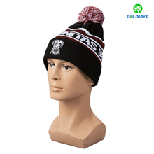 Black intasia pattern and flat embroidery Beanie hat with cuff