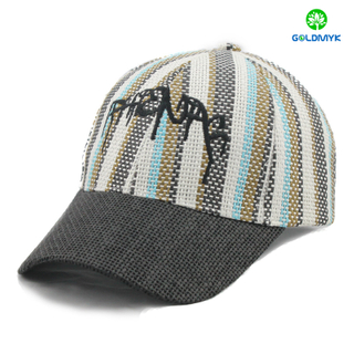 Paper Straw baseball cap with logo emrboidery