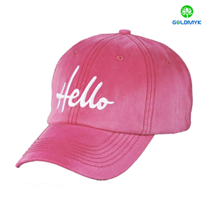Pink 100% washed cotton baseball cap with simple flat embroidery