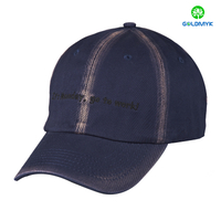 Custom flat logo embroidery washed cotton twill baseball Cap