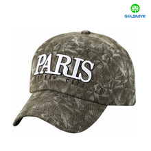 Six panel structured baseball cap with 3D embroidery