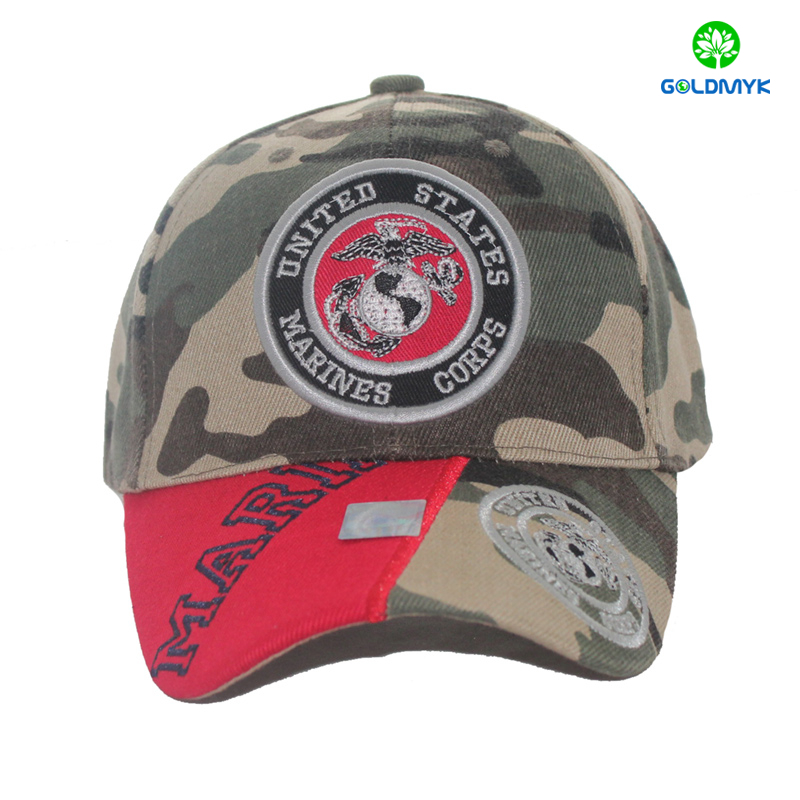 Wholesale camo 6 panesl baseball Hat with joint patch embroidery on brim