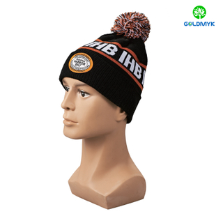Black intasia pattern and patch embroidery Beanie hat with pom pom