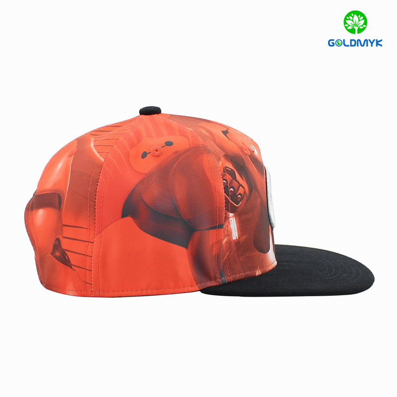 Whosale polyester flat brim fitted cap with snapback closure