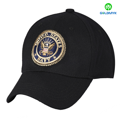 Black 100% acrylic six panel baseball cap with full embroidery patch
