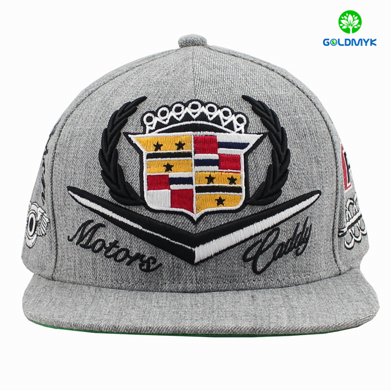 3D and Flat embroidery Snapback Cap with melange fabric