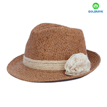 Wholesale women's fashion raffia beach fedora hat
