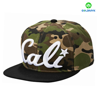 Contrast color 3D Embroidery 6 Panel Camo fabric Snapback cap
