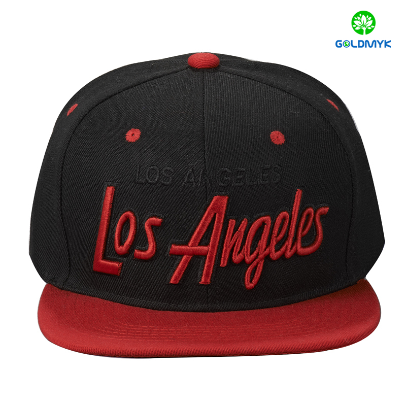 Custom 3D and flat combined embroidery 100% acrylic snapback cap