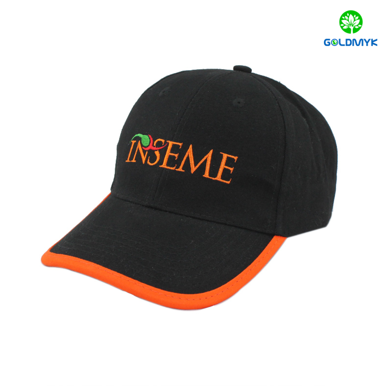 1856e6a44ce Custom Flat embroidery baseball hat with brim border for promotion ...