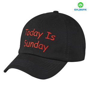 Black Flat embroidery six panel baseball Cap with thick stitching