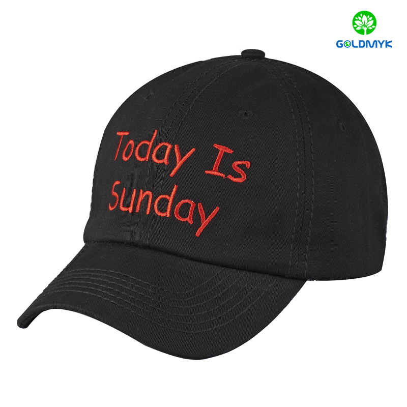 Black Flat Embroidery Six Panel Baseball Cap With Thick