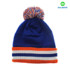 Stripe 100% acrylic intasia beanie hat with pom pom and cuff