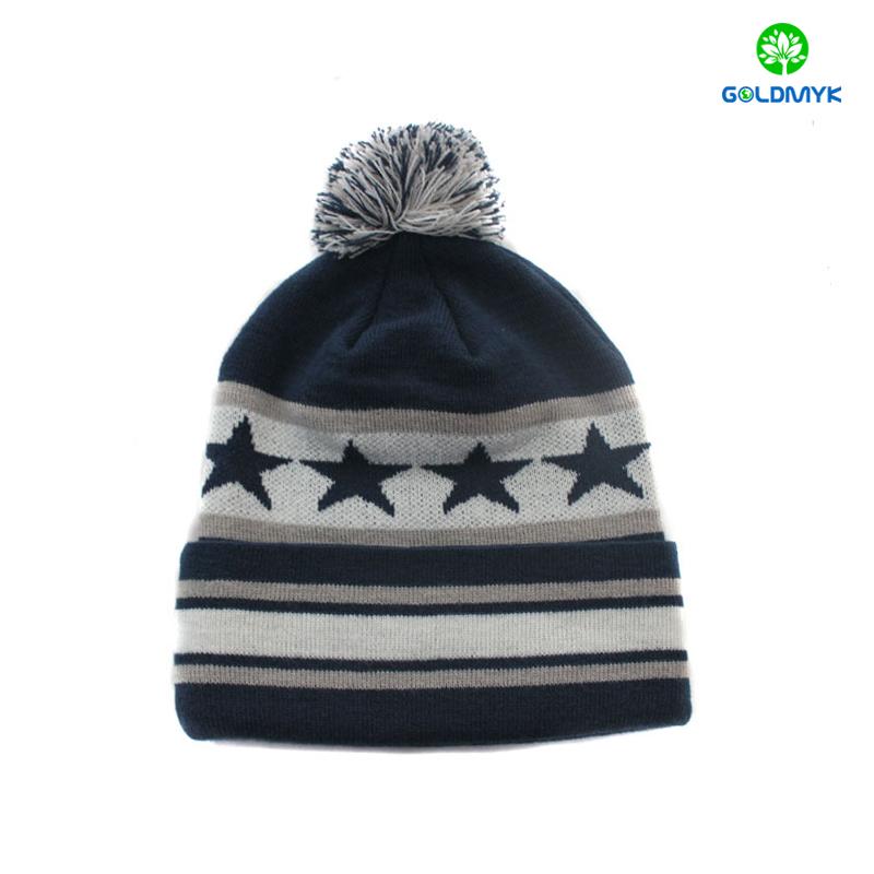 Stripe 100% acrylic plain color beanie hat with pom pom and cuff