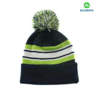 wholesale Stripe 100% acrylic plain color beanie hat with pom pom and cuff