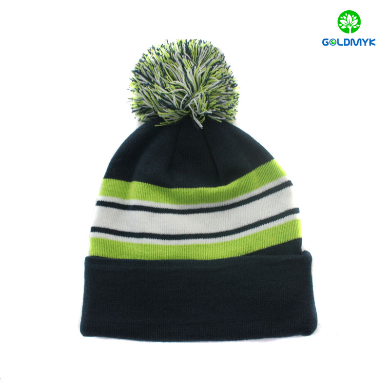 wholesale Stripe 100% acrylic plain color beanie hat with pom pom and cuff 60acef25083