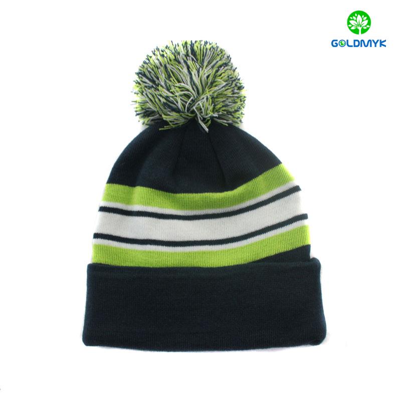 wholesale Stripe 100% acrylic plain color beanie hat with pom pom and cuff 67763c3b631