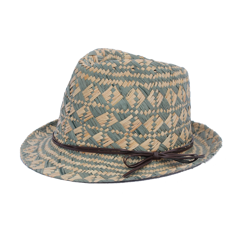 Unisex raffia fedora hat with custom made accessory