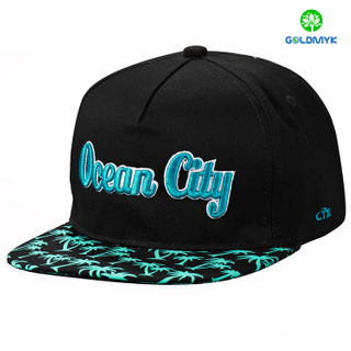 Wholesale printing brim 3D embroidery 6 panels Flat Bill Cap