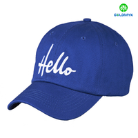 Blue 100% cotton baseball cap with simple flat embroidery