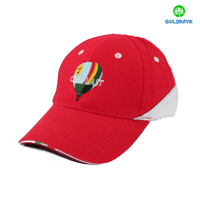 Wholesale embroidery baseball cap with woven label sandwich for promotional