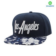 Acylic six panel snapback cap with flower pattern brim