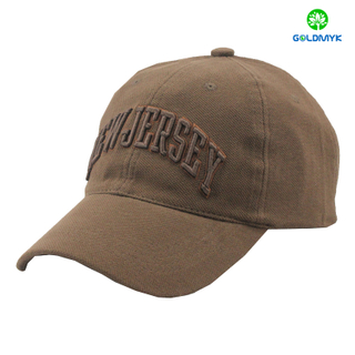 Brown polyester baseball cap with 3D embroidery