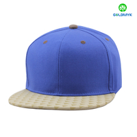 Cotton blank snapback cap with printing top brim