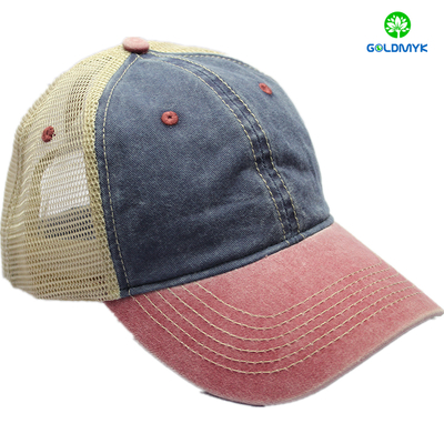 6 Panel Richardson Truck Mesh Hats Pigment Washed Cotton Twill Custom Baseball Hat Cap with mesh