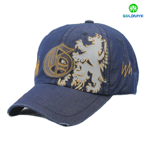 Jean material baseball cap with felt patch logo