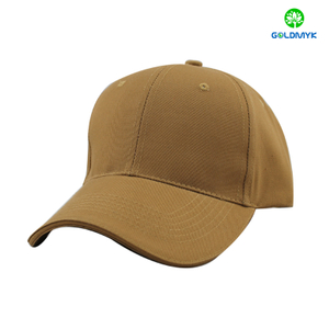 Khaki blank cotton sandwich baseball cap with velcro closure