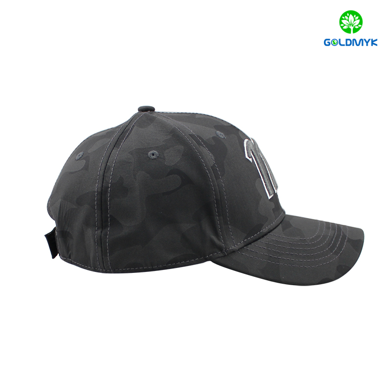Black camo leather baseball cap with 3D embroidery