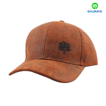 Special leather material baseball cap with rubber printing
