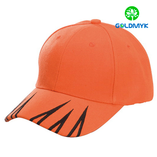 Six panel orange baseball cap with embroidery on bill