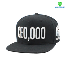 Black six panel snapback cap with 3D embroidery
