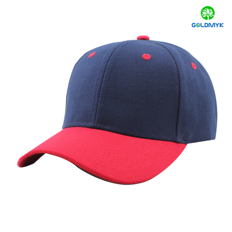 Navy Blue And Red Acrylic Blank Baseball Cap From China