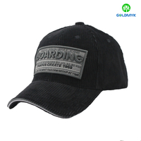 Corduroy baseball cap with embroidery patch logo
