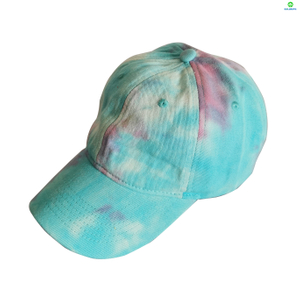New Design Sport Hat Custom 6 Panel Tie Dye Cotton Baseball Cap