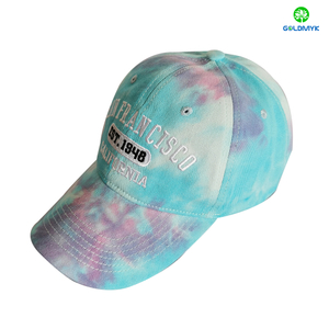 Good Quality Custom Made Tie Dye Embroidery 6 Panels Baseball Cap