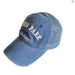 3D Embroidery Pigment Washed Mesh Cap With Distressed Visor