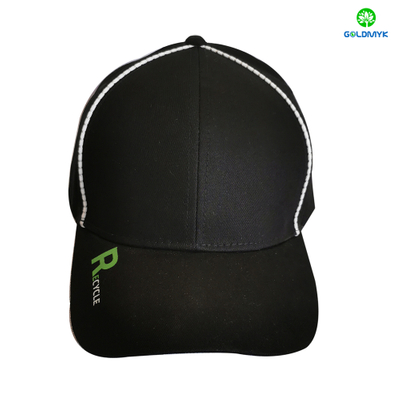 Recycle Fabric Print Logo Sports Baseball Cap With Reflective Piping