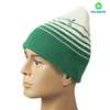 Green and white stripe beanie hat with flat embroidery