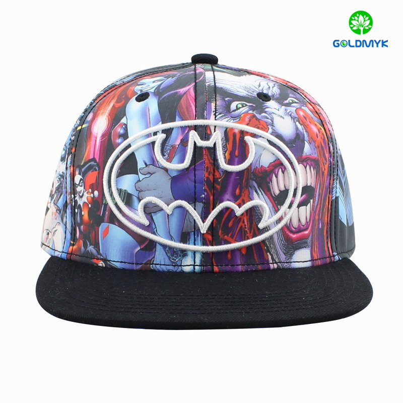 Custom polyester flat brim snapback cap with 3D embroidery