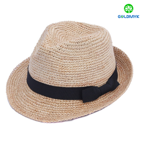 Custom High Quality Raffia Straw Men Fedora Hat