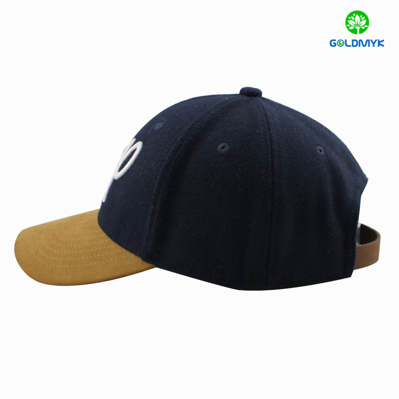 wool fabric baseball cap with suede visor and leather strap