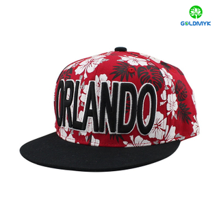 3D embroidery snapback cap with red flower pattern