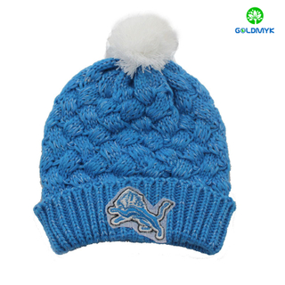 New design winter snow knitted hats with embroidery logo of beanie hats