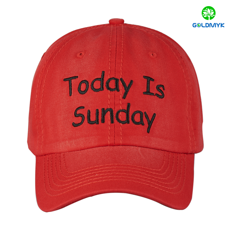 6 panel 100% washed cotton cap with custom flat embroidery